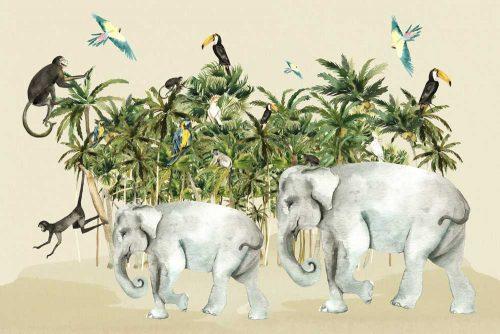 kolorowa foto-tapeta z tropikami