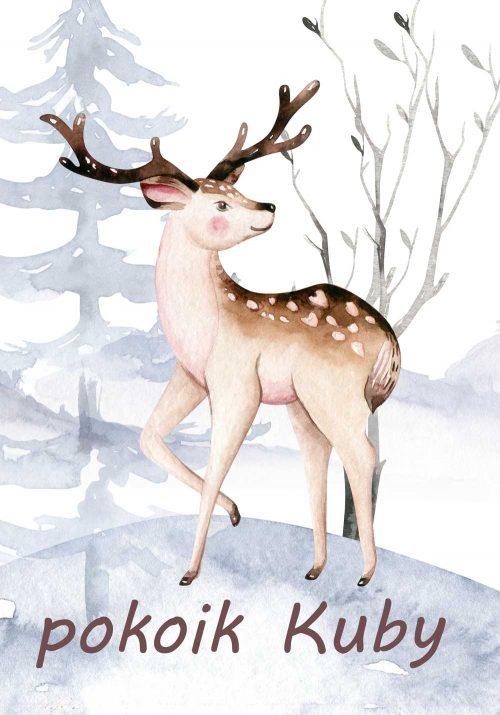Personalizowany plakat z imieniem dziecka i leśnym motywem