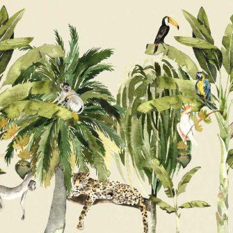 egzotyczna roślinność na fototapecie dla dzieci