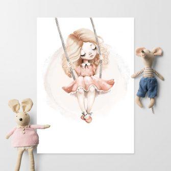 Plakat do pokoju dziewczynki z huśtawką