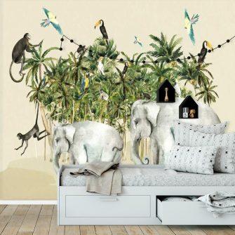 foto-tapeta do pokoju przedszkolaczka- małpy i papugi