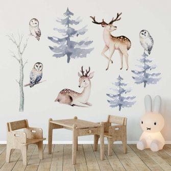 rodzina jeleni- naklejki ścienne dla przedszkolaka