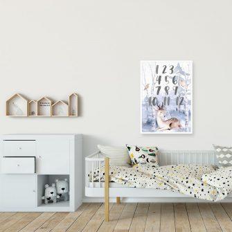 motylek i ptaszek w lesie- plakat dla niemowlaka