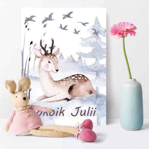 plakat z jeleniem dla małego właściciela pokoju