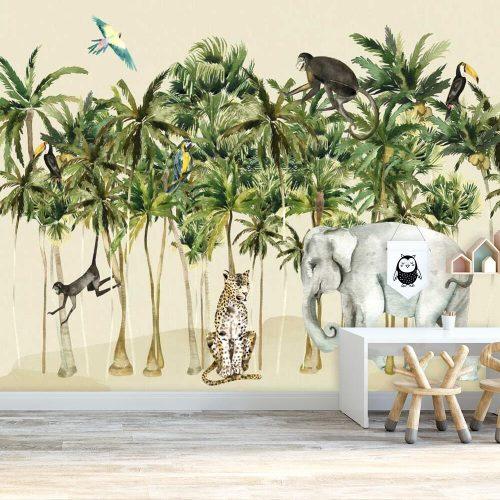 przedszkole dekorowane kolorową foto-tapetą z egzotycznymi zwierzętami