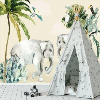 wesoła foto-tapeta dla dzieci z motywem azjatyckich słoni