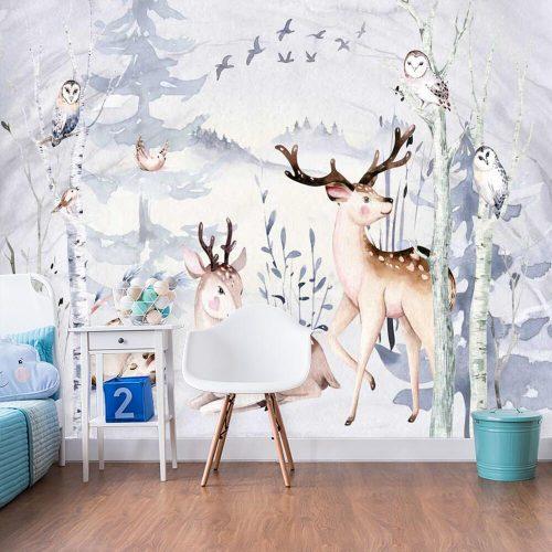 rodzina jeleni na fototapecie do pokoju dziecięcego