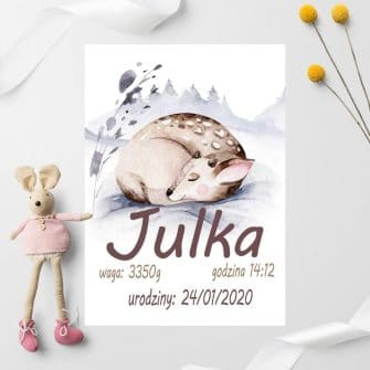 plakat na prezent z okazji urodzin- śpiący jelonek