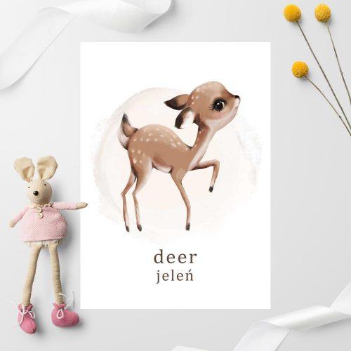 Plakat z jeleniem dla chłopca
