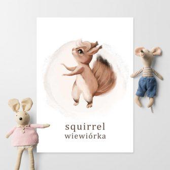 Plakat dla dziewczynki - Wiewiórka
