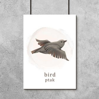 Plakat do pokoju dziewczynki z ptakiem