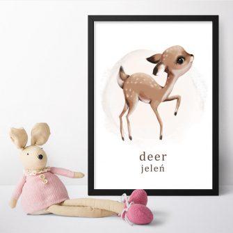 Plakat z jeleniem dla dziewczynki