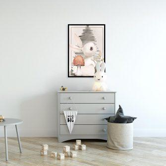 Plakat z królikiem do pokoju chłopca