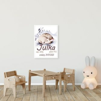 Imię dziecka na plakacie z sarenką