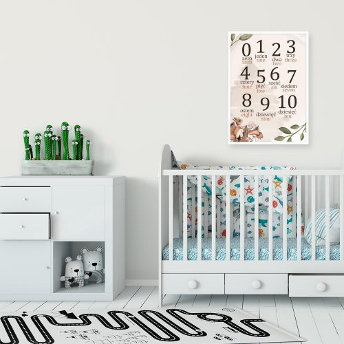 plakat w ramie dla dziecka- cyferki