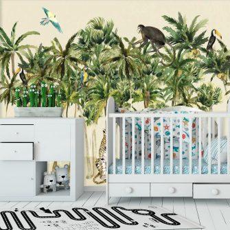 Kolorowe tropikalne ptaki na palmach- fototapeta dla dzieci