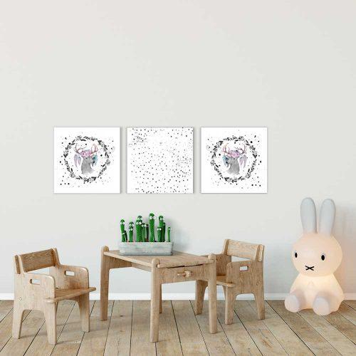 obraz z motywem jeleni z piórami dla dziecka