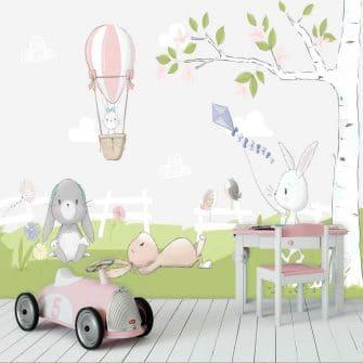 wiosenne króliczki na fototapecie do pokoju dziecinnego