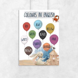 Nazwy kolorów po angielsku - Plakat dla chłopca