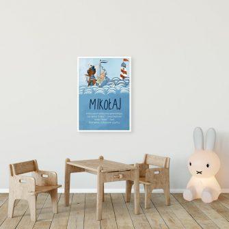 Plakat imienny z misiem na statku dla chłopca