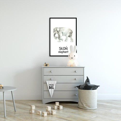 Plakat edukacyjny ze słoniem dla dziewczynki