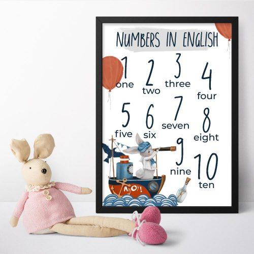 Cyfry na plakacie dla dzieci z króliczkiem na statku