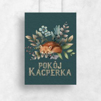 Plakat dla dziecka do pokoju z liskiem i typografią