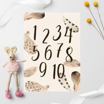 łagodne piórka na plakacie dla dzieci ze zbiorem liczb