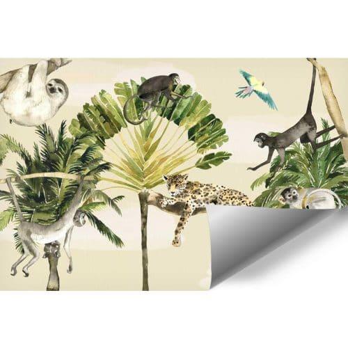 pokój dziecka dekorowany fototapetą ze zwierzętami