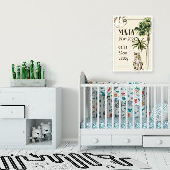 plakat z metryczką nad łóżeczko dziecka