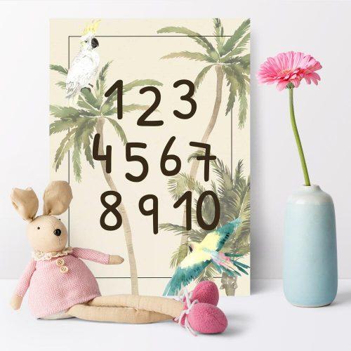Biało-żółta kakadu na palmie- plakat dla dziewczynki