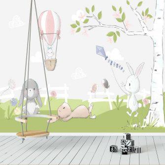 Biły królik z fioletowym latawcem - fototapeta do pokoju niemowlaka