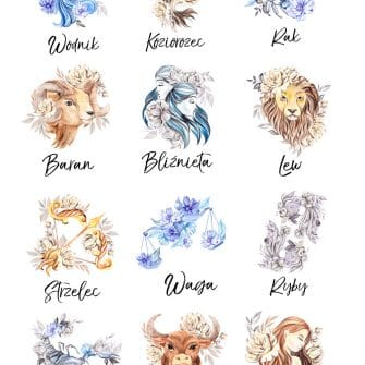 Plakat z metryczką i znakiem zodiaku dla dzieci