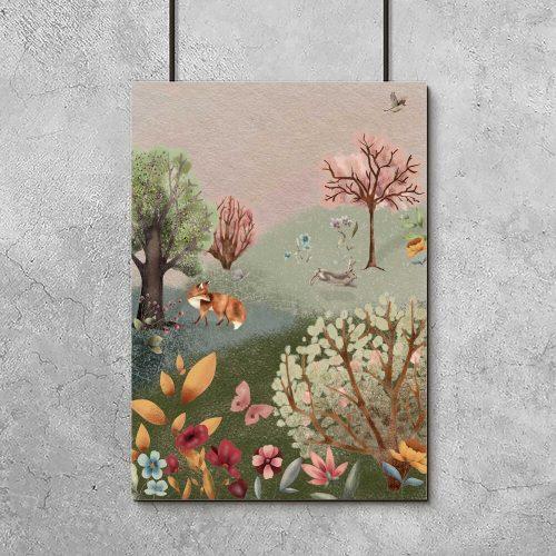 Barwny plakat dla dziewczynki - Kwiecista łąka