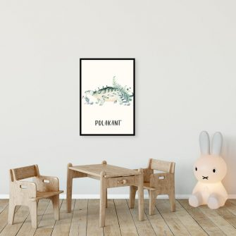 Plakat do pokoju dziecięcego z zielonym dinozaurem