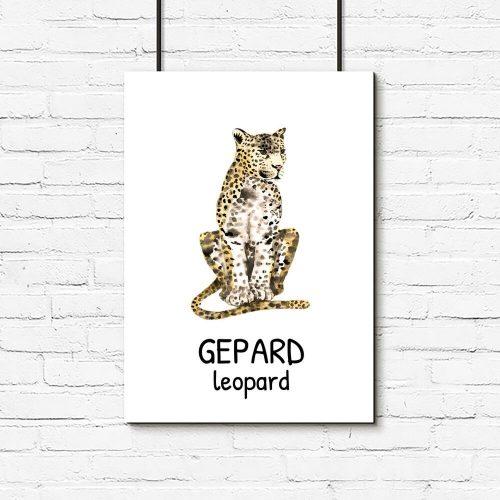 plakat z napisem gepard - dla dzieci