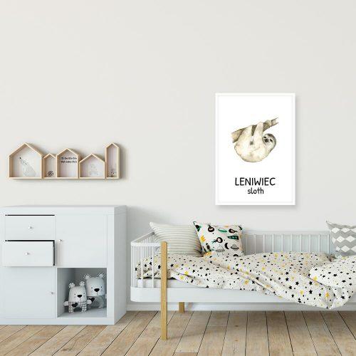 leniwiec na plakacie do pokoju ucznia