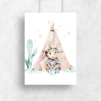 Pastelowy plakat dla niemowlaka - Indianin