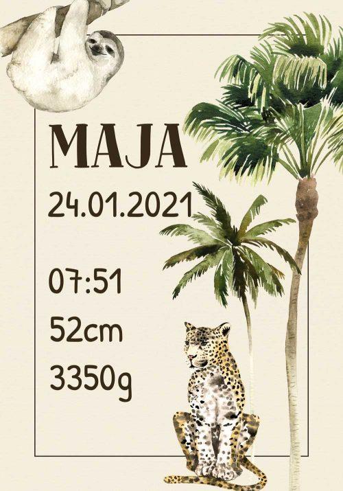 Plakat - metryczka z gepardem