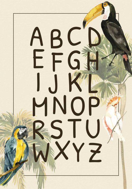 bajkowe ptaszki na niebiesko- zielonym plakacie dla dzieci