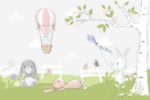 szary króliczek z kwiatkami na fototapecie