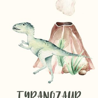 Chłopięcy plakat do pokoju z zielonym dinozaurem