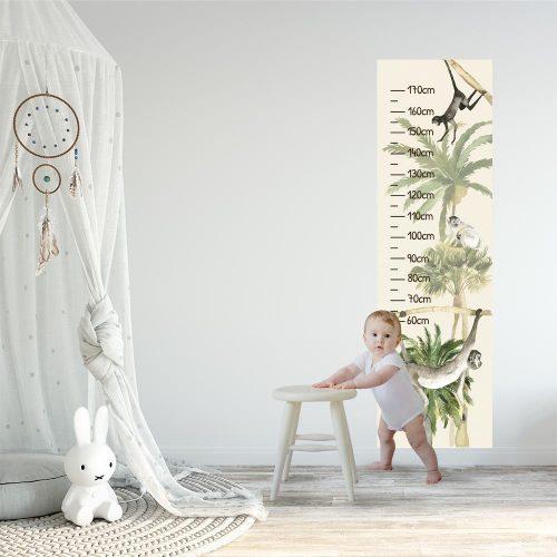 Miarka wzrostu z motywem zielonej palmy do dziecinnego pokoju
