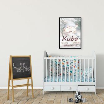 Plakat dla chłopca - Metryczka z królikiem