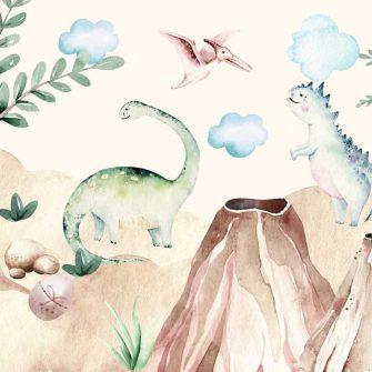 Zielony brontozaur - Fototapeta dla dzieci