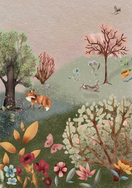 Barwny plakat dla dzieci - Kwiecista łąka