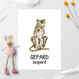 beżowo-żółty gepard na plakacie dla dzieci