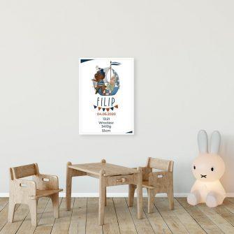 Plakat-Metryczka dla niemowlaka - Królik na statku