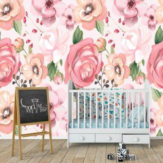 Różowa fototapeta do pokoju dziewczynki