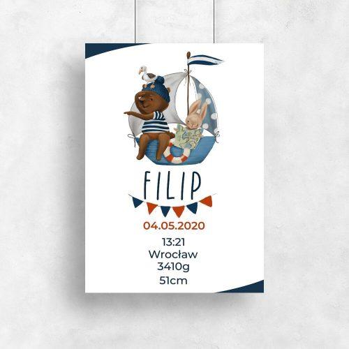 Plakat z metryczką dla chłopca - Miś na statku